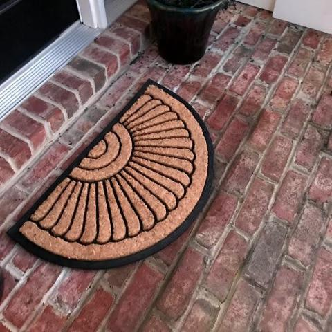 NEW 18 x 30 in Half Circle Door Mat Natural Coir Recycled Rubber Doormat + FREE Rubber Mat ($20 Value)