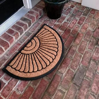 NEW 18 x 30 in Half Circle Door Mat Natural Coir Recycled Rubber Doormat