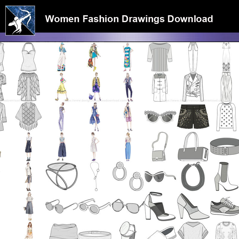 ★Women Fashion Drawings Download  V.4-Women Dresses,Tops,Skirts,Shoes Design Drawings
