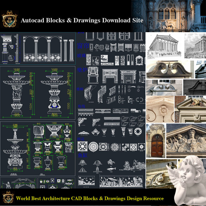 【Architectural Decoration CAD Blocks Bundle】Neoclassical and Romantic Architecture Design elements