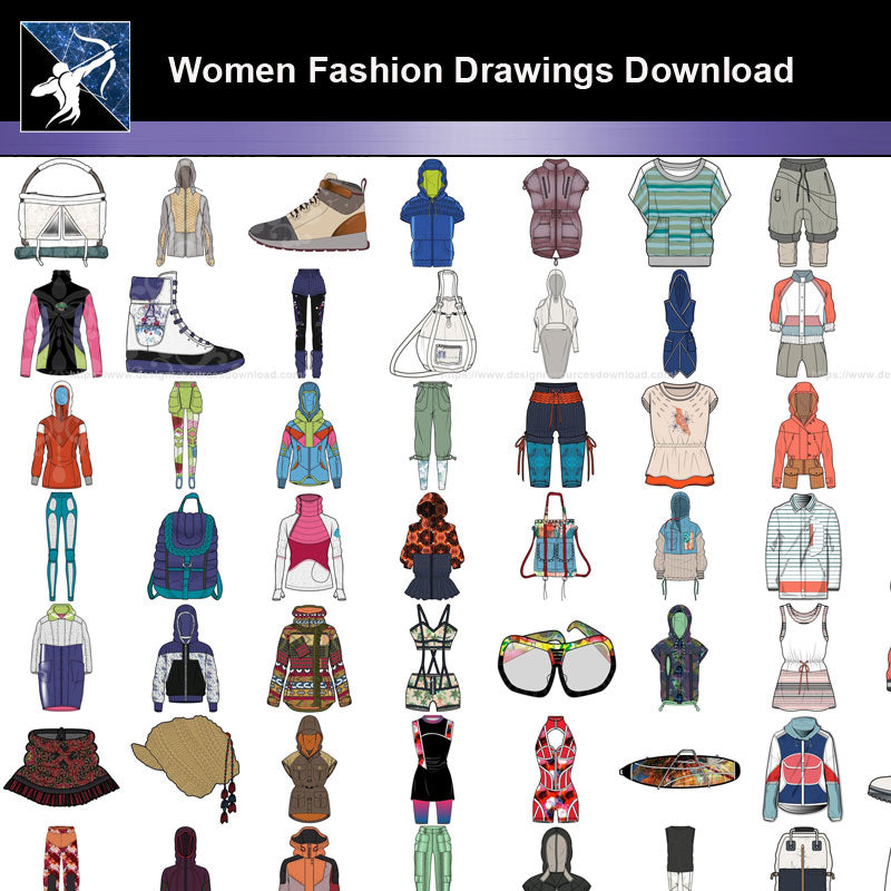 ★Women Fashion Drawings Download  V.2-Women Dresses,Tops,Skirts,Shoes Design Drawings