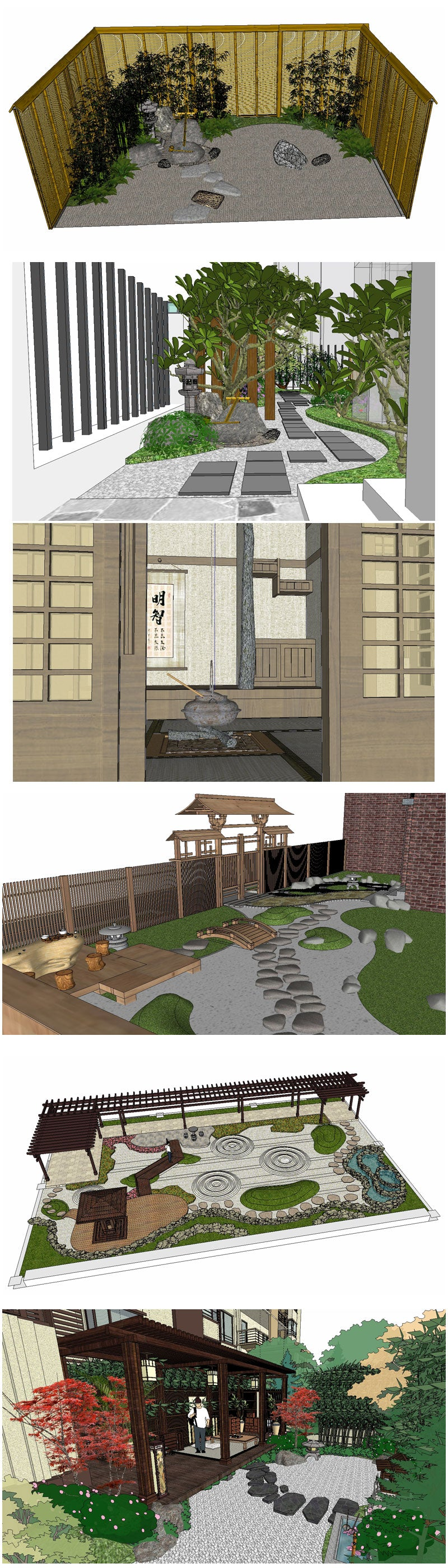 💎【Sketchup Architecture 3D Projects】9 Types of Japanese Garden Model Sketchup 3D Models