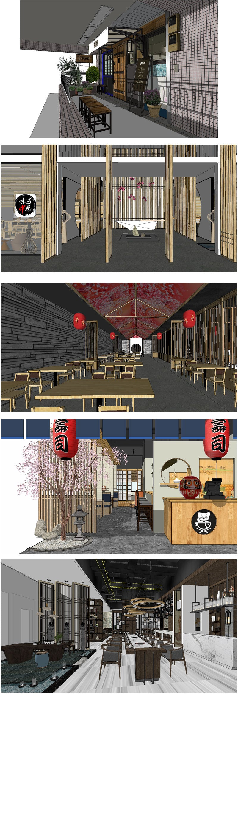 💎【Sketchup Architecture 3D Projects】5 Types of Japanese restaurant Sketchup 3D Models