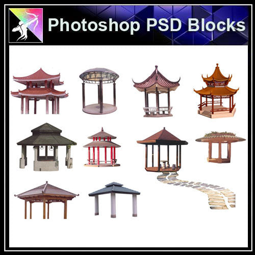 【Photoshop PSD Blocks】Chinese Pavilion PSD Blocks 1 - Architecture Autocad Blocks,CAD Details,CAD Drawings,3D Models,PSD,Vector,Sketchup Download