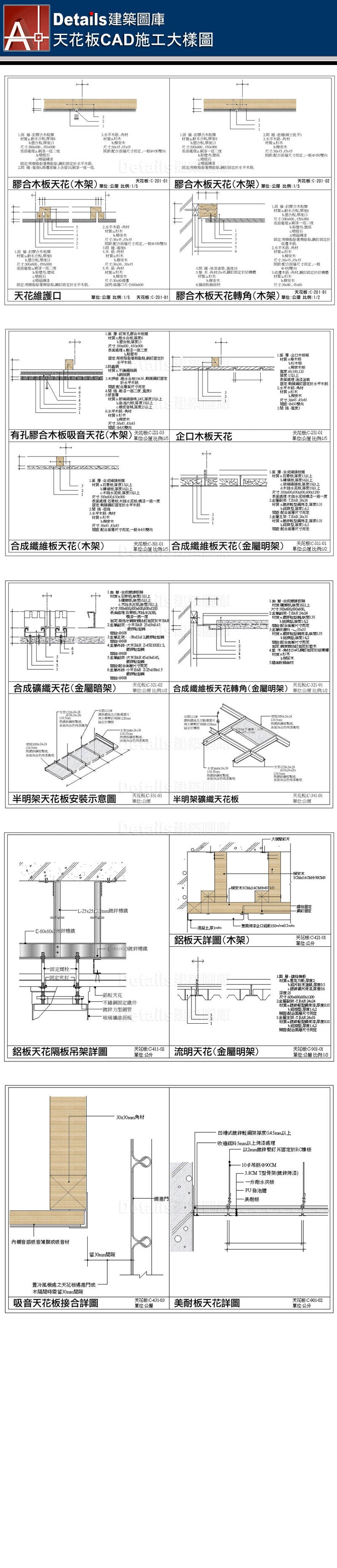 ★【Ceiling CAD Details Collections 天花板施工大樣合輯】Ceiling CAD Details Bundle天花板CAD施工大樣圖