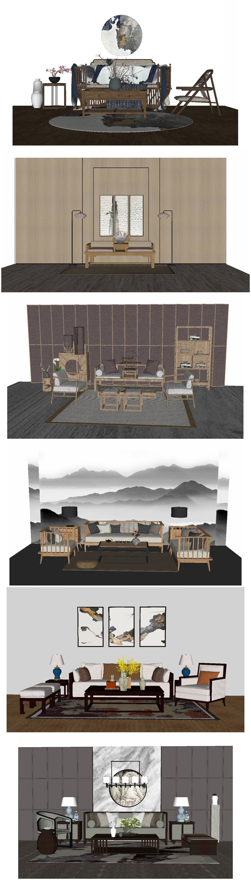 💎【Sketchup Architecture 3D Projects】12 Types of Chinese sofa Sketchup 3D Models
