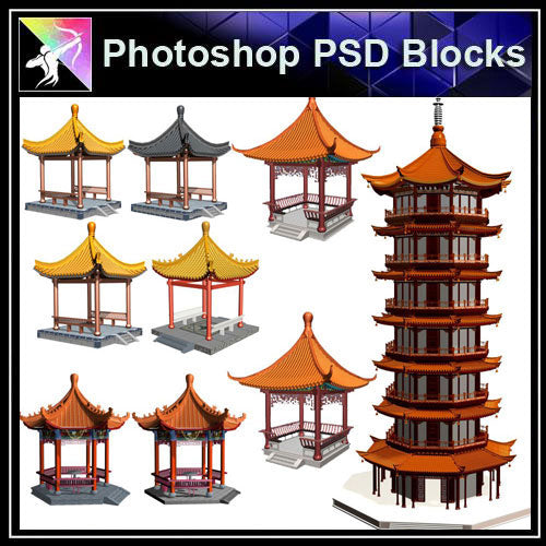 【Photoshop PSD Blocks】Chinese Pavilion PSD Blocks 2 - Architecture Autocad Blocks,CAD Details,CAD Drawings,3D Models,PSD,Vector,Sketchup Download