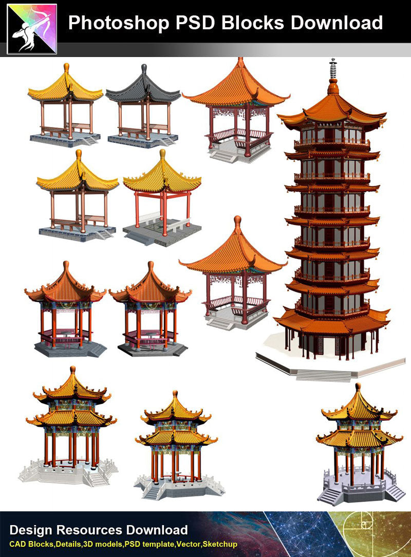 【Photoshop PSD Blocks】Chinese Pavilion PSD Blocks 2