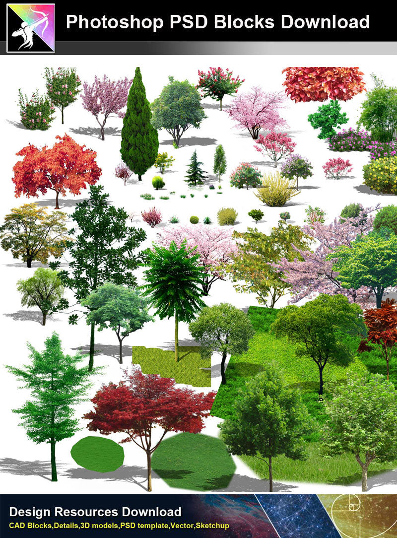 【Photoshop PSD Blocks】Landscape Tree PSD Blocks 11