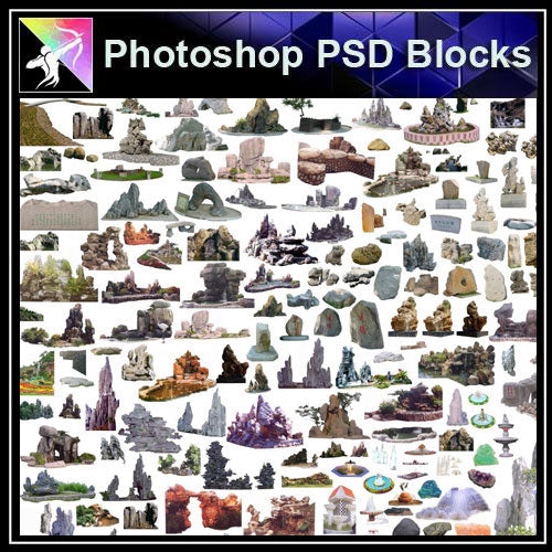 【Photoshop PSD Blocks】Landscape Stone PSD Blocks 3