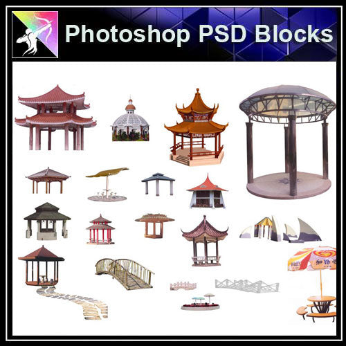 【Photoshop PSD Blocks】Chinese Pavilion PSD Blocks 3 - Architecture Autocad Blocks,CAD Details,CAD Drawings,3D Models,PSD,Vector,Sketchup Download