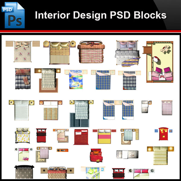 ★Photoshop PSD Blocks-Interior Design PSD Blocks-Bed PSD Blocks V1 - Architecture Autocad Blocks,CAD Details,CAD Drawings,3D Models,PSD,Vector,Sketchup Download