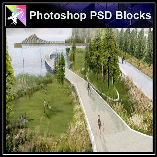 Photoshop PSD Landscape -Landscape presentation concept psd V.1 - Architecture Autocad Blocks,CAD Details,CAD Drawings,3D Models,PSD,Vector,Sketchup Download