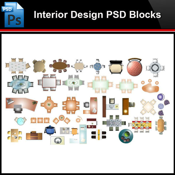 ★Photoshop PSD Blocks-Interior Design PSD Blocks-Desk & Chair PSD Blocks V1 - Architecture Autocad Blocks,CAD Details,CAD Drawings,3D Models,PSD,Vector,Sketchup Download