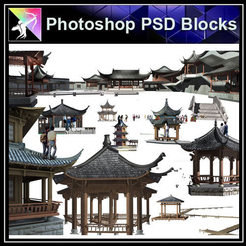 【Photoshop PSD Blocks】Chinese Pavilion PSD Blocks 4