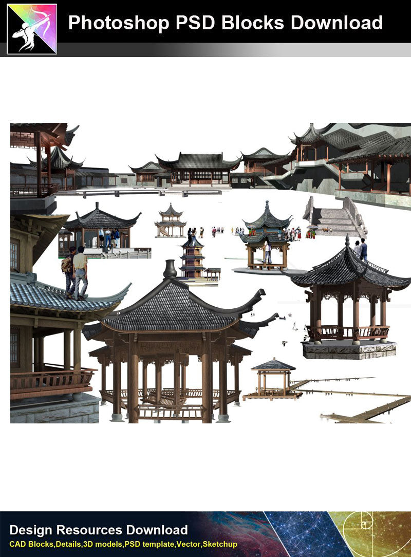 【Photoshop PSD Blocks】Chinese Pavilion PSD Blocks