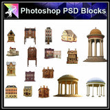 【Photoshop PSD Blocks】Chinese Pavilion PSD Blocks 5 - Architecture Autocad Blocks,CAD Details,CAD Drawings,3D Models,PSD,Vector,Sketchup Download