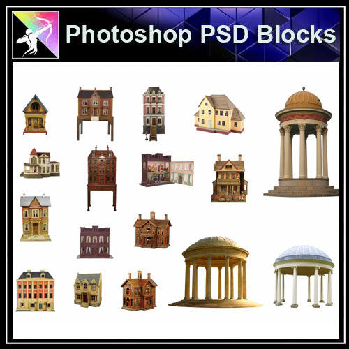 【Photoshop PSD Blocks】Chinese Pavilion PSD Blocks 5