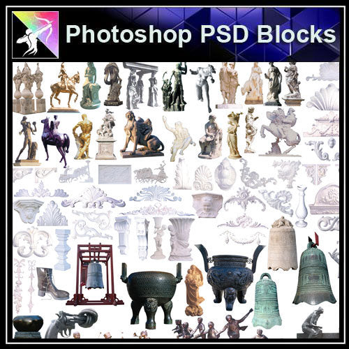 【Photoshop PSD Blocks】Landscape Statue PSD Blocks 1 - Architecture Autocad Blocks,CAD Details,CAD Drawings,3D Models,PSD,Vector,Sketchup Download