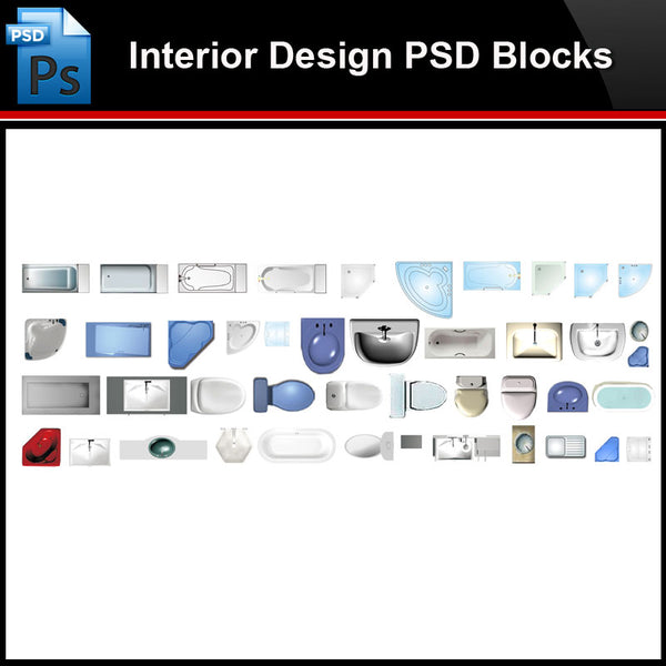★Photoshop PSD Blocks-Interior Design PSD Blocks -Bathroom facilities PSD Blocks V1 - Architecture Autocad Blocks,CAD Details,CAD Drawings,3D Models,PSD,Vector,Sketchup Download