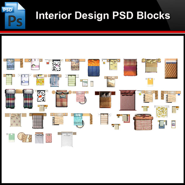★Photoshop PSD Blocks-Interior Design PSD Blocks-Bed PSD Blocks V2 - Architecture Autocad Blocks,CAD Details,CAD Drawings,3D Models,PSD,Vector,Sketchup Download