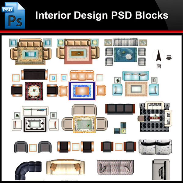 ★Photoshop PSD Blocks-Interior Design PSD Blocks-Sofa PSD Blocks V2 - Architecture Autocad Blocks,CAD Details,CAD Drawings,3D Models,PSD,Vector,Sketchup Download