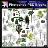 【Photoshop PSD Blocks】Landscape Tree PSD Blocks 19