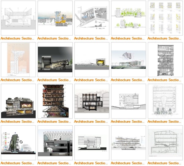 Architecture Sections Gallery V5 - Architecture Autocad Blocks,CAD Details,CAD Drawings,3D Models,PSD,Vector,Sketchup Download