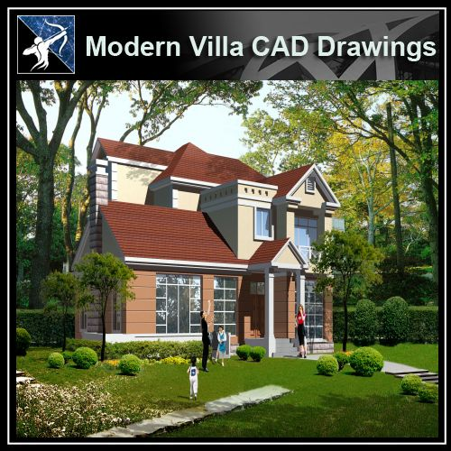 ★Modern Villa CAD Plan,Elevation Drawings Download V.15