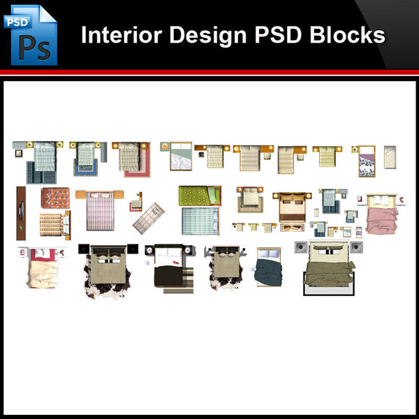 ★Photoshop PSD Blocks-Interior Design PSD Blocks-Bed PSD Blocks V3 - Architecture Autocad Blocks,CAD Details,CAD Drawings,3D Models,PSD,Vector,Sketchup Download