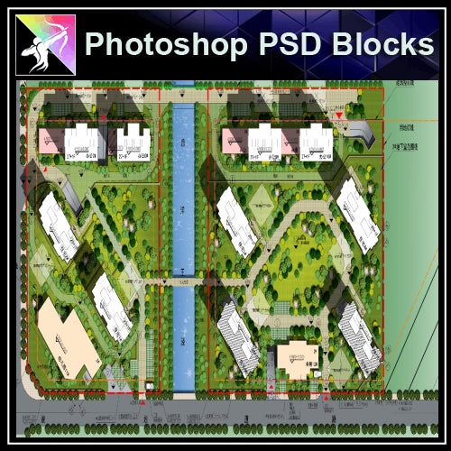Photoshop PSD Landscape Layout -Residential Plan Design PSD V.4 - Architecture Autocad Blocks,CAD Details,CAD Drawings,3D Models,PSD,Vector,Sketchup Download