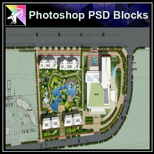 Photoshop PSD Landscape Layout -Residential Plan Design PSD V.5 - Architecture Autocad Blocks,CAD Details,CAD Drawings,3D Models,PSD,Vector,Sketchup Download