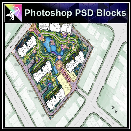 Photoshop PSD Landscape Layout -Residential Plan Design PSD V.6 - Architecture Autocad Blocks,CAD Details,CAD Drawings,3D Models,PSD,Vector,Sketchup Download
