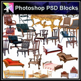 ★Photoshop PSD Blocks-Chair PSD Blocks - Architecture Autocad Blocks,CAD Details,CAD Drawings,3D Models,PSD,Vector,Sketchup Download