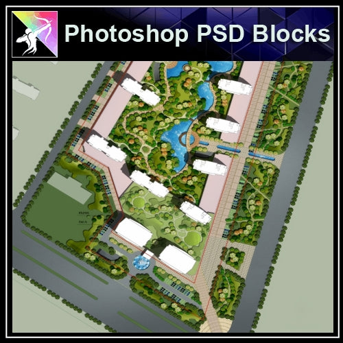 Photoshop PSD Landscape Layout -Residential Plan Design PSD V.7 - Architecture Autocad Blocks,CAD Details,CAD Drawings,3D Models,PSD,Vector,Sketchup Download