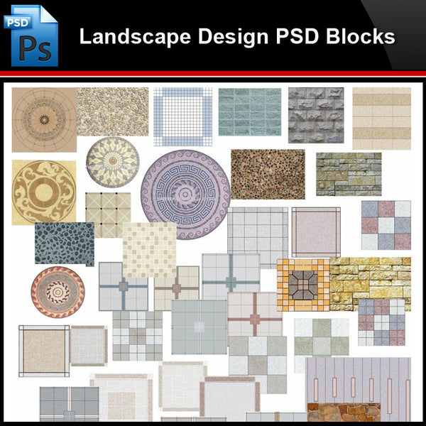 ★Photoshop PSD Blocks-Landscape Design PSD Blocks-2D Paving Design PSD Blocks - Architecture Autocad Blocks,CAD Details,CAD Drawings,3D Models,PSD,Vector,Sketchup Download