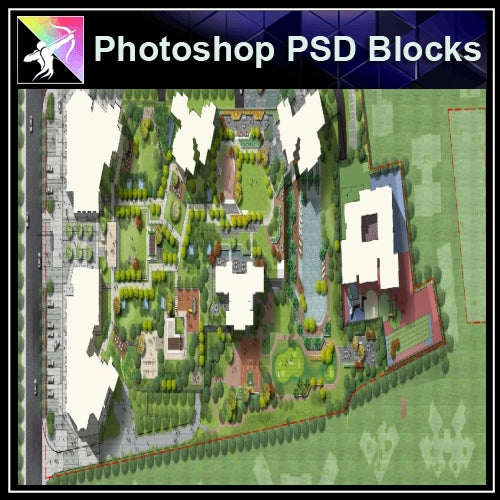 Photoshop PSD Landscape Layout -Residential Plan Design PSD V.10 - Architecture Autocad Blocks,CAD Details,CAD Drawings,3D Models,PSD,Vector,Sketchup Download