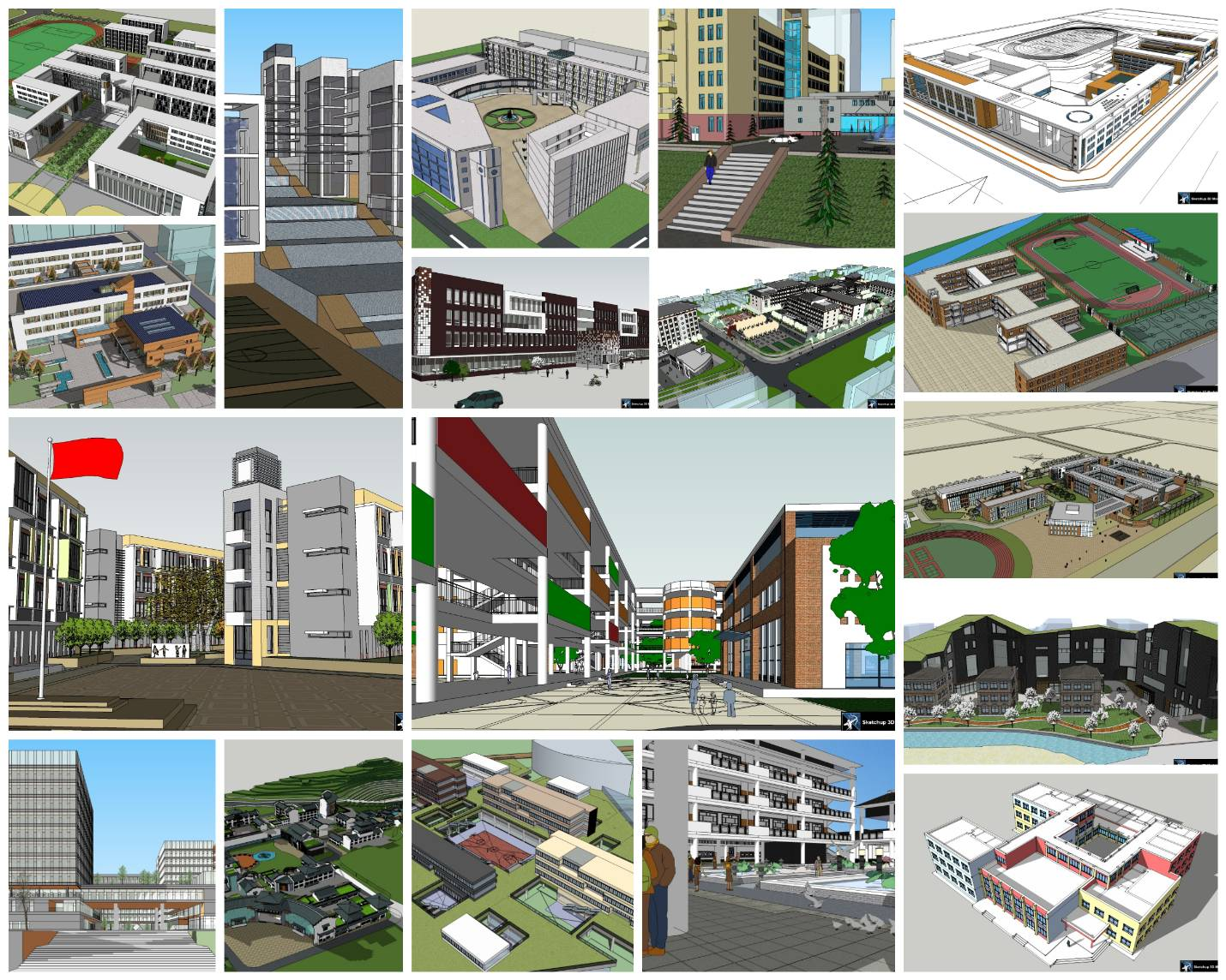 💎【Sketchup Architecture 3D Projects】20 Types of School Design Sketchup 3D Models V4