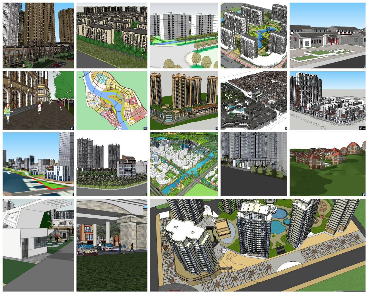 💎【Sketchup Architecture 3D Projects】20 Types of Residential Building Sketchup 3D Models V9