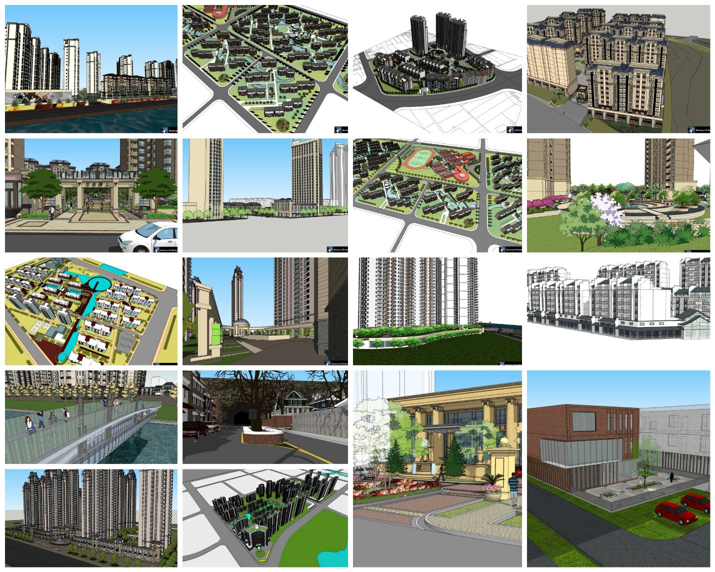 💎【Sketchup Architecture 3D Projects】20 Types of Residential Building Sketchup 3D Models V1