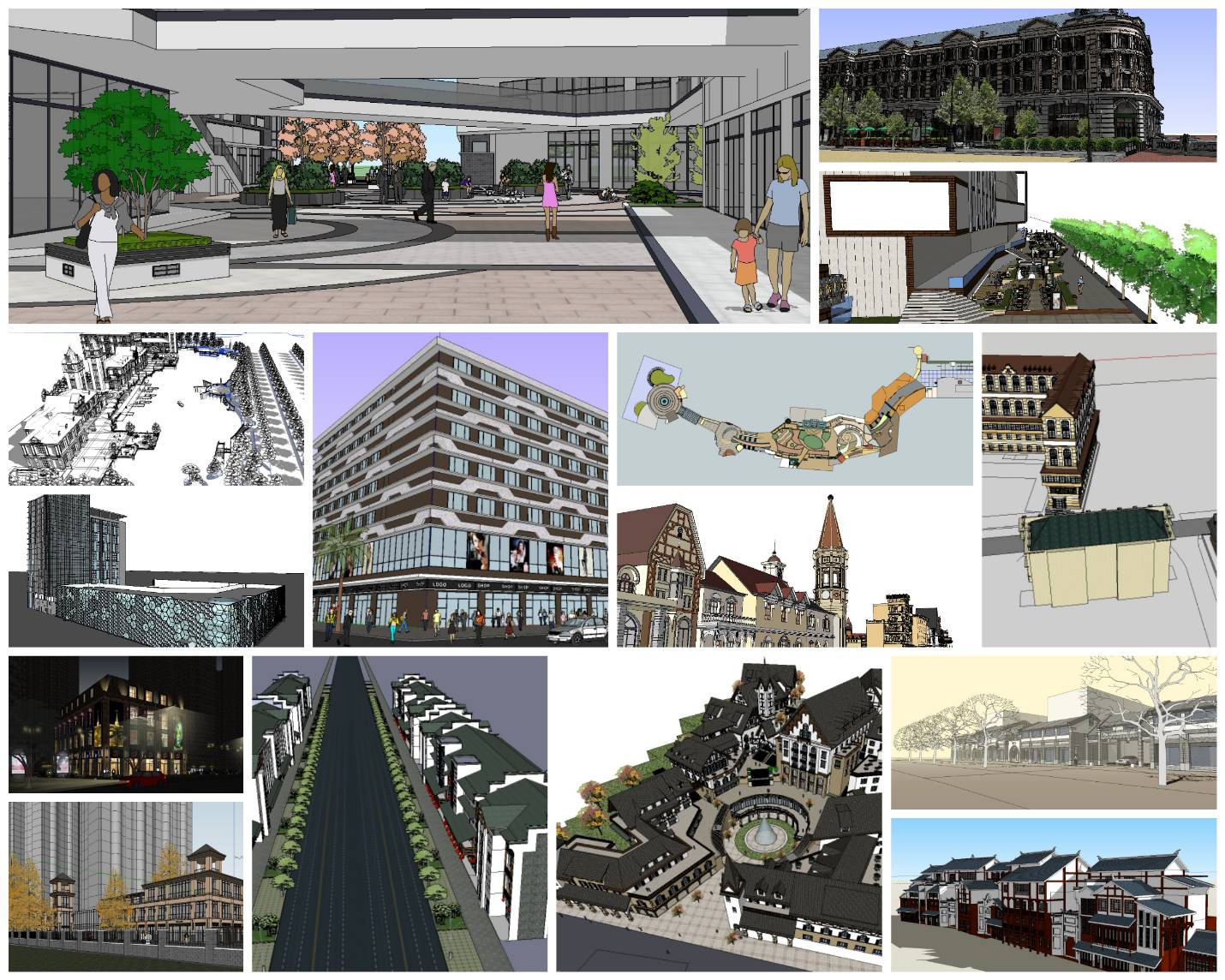 💎【Sketchup Architecture 3D Projects】15 Types of Commercial Street Design Sketchup 3D Models V5