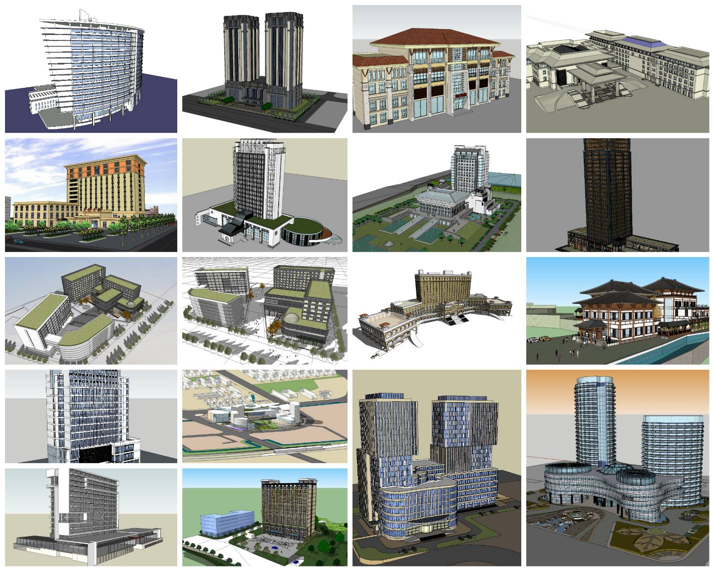 💎【Sketchup Architecture 3D Projects】20 Types of Hotel Sketchup 3D Models
