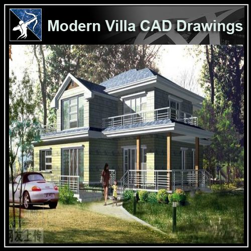 ★Modern Villa CAD Plan,Elevation Drawings Download V.29 - Architecture Autocad Blocks,CAD Details,CAD Drawings,3D Models,PSD,Vector,Sketchup Download