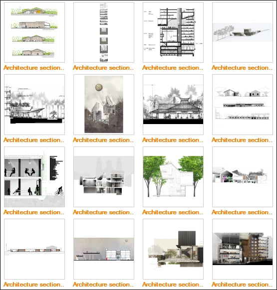 Architecture Sections Gallery V1 - Architecture Autocad Blocks,CAD Details,CAD Drawings,3D Models,PSD,Vector,Sketchup Download