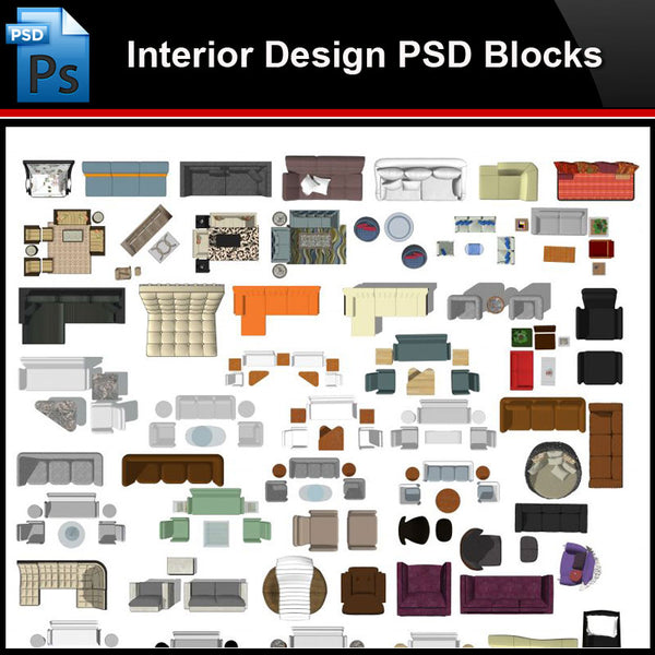 ★Photoshop PSD Blocks-Interior Design PSD Blocks -Sofa PSD Blocks - Architecture Autocad Blocks,CAD Details,CAD Drawings,3D Models,PSD,Vector,Sketchup Download