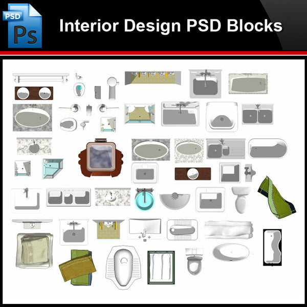 ★Photoshop PSD Blocks-Interior Design PSD Blocks -Bathroom PSD Blocks - Architecture Autocad Blocks,CAD Details,CAD Drawings,3D Models,PSD,Vector,Sketchup Download