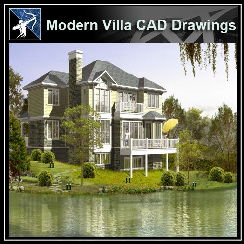 ★Modern Villa CAD Plan,Elevation Drawings Download V.32 - Architecture Autocad Blocks,CAD Details,CAD Drawings,3D Models,PSD,Vector,Sketchup Download