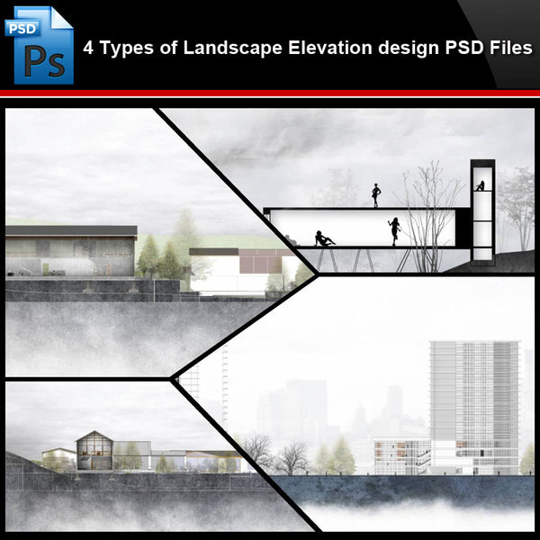 ★Photoshop PSD Files-4 Types of Landscape Elevation design PSD Files (Total 1.74GB) - Architecture Autocad Blocks,CAD Details,CAD Drawings,3D Models,PSD,Vector,Sketchup Download