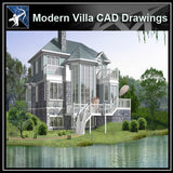 ★Modern Villa CAD Plan,Elevation Drawings Download V.31