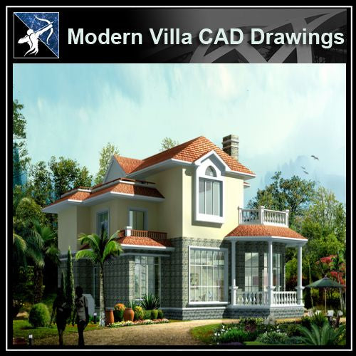 ★Modern Villa CAD Plan,Elevation Drawings Download V.35